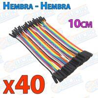 40 cables jumper protoboard de 10cm - Hembra/Hembra - Arduino Electronica DIY