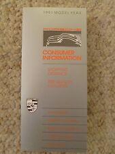 1991 Porsche Consumer Information Showroom Folder Brochure Prospekt RARE Awesome