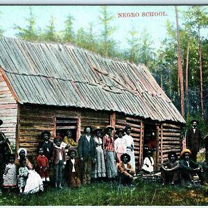 c1910 Black Americana Cabin School People Litho Photo Post Card Schoolhouse A18