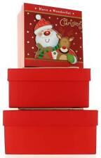 Set di 3 Natale Medio Quadrato nidificati Scatole Regalo-Carino Babbo Natale & Renne