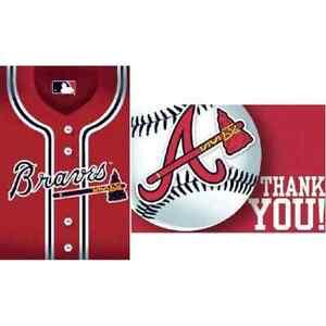 Atlanta Braves MLB Baseball Sports Banquet Party Invitations & Thank You Notes