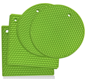 Heat Resistant Hot Pan Stand  Silicon Kitchen Trivet Mat Worktop Protector Green