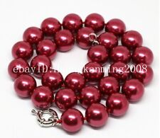 """Long 16""""18""""22"""" 25"""" 36"""" 10mm South Dark Red Shell Pearl Necklace AAA"""