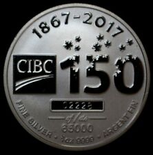 1867-2017 CIBC '150 YEARS' - 9999 FINE SILVER PROOF 1oz.-Imperial Bank of Canada