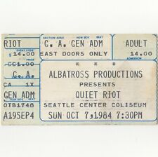 Quiet Riot & Whitesnake Concert Ticket Stub Seattle 10/7/84 Condition Critical
