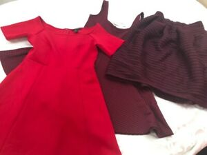 New with tags Forever 21 set of 3 red dress + burgundy dress + skirt women S $78