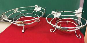 2 vtg footed metal flower pot holders,fruit baskets,metal butterfly adornments