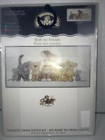 """DMC Cross Stitch """"WIth my Friends"""" 18""""x8"""" K4430 Dog Cat Bears Mice NEW Kit"""