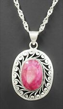 Ruby Womens Sterling Silver Pendant & 925 Sterling Silver Chain Necklace