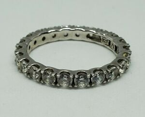 Sterling Silver Eternity CZ Band Ring 925 FE Sz 9