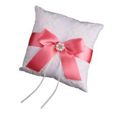 20x20cm Dual Heart Bowknot Weeding Ring Bearer Pillow Cushion W//Ribbon Red #ur4