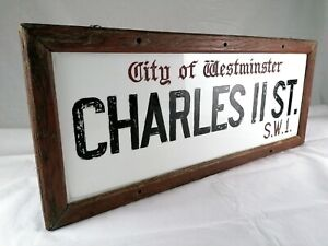 Original 1939 London Street Sign - Charles II Street. W.1. City of Westminster