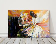 playing the piano oil painting modern cavnas art impressionism canvas picture