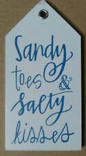 Sandy Toes & Salty Kisses - Wooden Beach Hut Themed Fridge Magnet