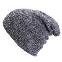 Unisex Wool Knit Ski Baggy Warm Cap Winter Mens Womens Slouchy Beanie D Gray MT