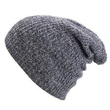 Unisex Wool Knit Ski Baggy Warm Cap Winter Mens Womens Slouchy Beanie D Gray MT