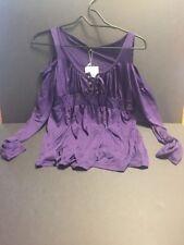 Yitl Purple Blouse Shirt Size Medium Sexy Cut Out Shoulders Tie Front