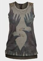 Womens studded Sleeveless Top T-shirt Eagle print Raw edge punk goth emo