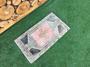 1'5''x2'7'' Vintage Turkish Mat Rug,Oushak Small Rug,Bath Mat,Door Mat,Floor Mat