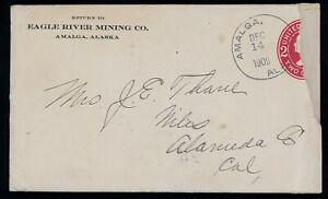 Amalga, Alaska 1909 cover and letter, mining ad corner