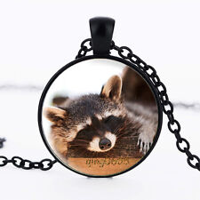Raccoon Photo Glass Dome Necklace black Chain Pendant Necklace