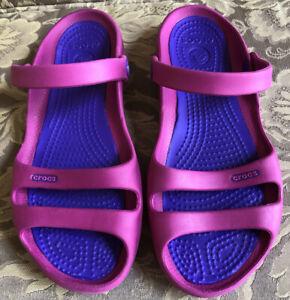 Crocs CLEO II Pink Purple Sandals Women Sz 8