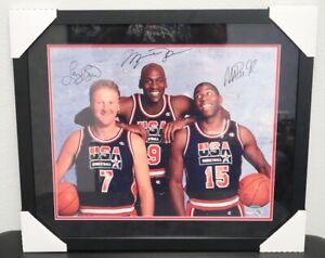 Michael Jordan, Larry Bird, & Magic Johnson 1992 Dream Team Autographed Picture