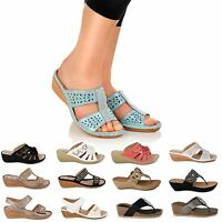 WOMENS LADIES SLIP ON MULES DIAMANTE PLATFORM WEDGE HEEL SANDALS OPEN TOE SHOES