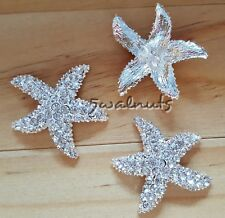 2pcs Silver Starfish Diamante Buttons Crystal Rhinestone Shank Sew on Bling Gem
