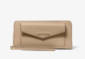 NWT MICHAEL MICHAEL KORS Jet Set Large Saffiano Leather Pocket Wallet Beige