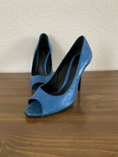 """GUCCI Off Turquoise Blue """"G"""" Print Stiletto Heels Size 38 1/2 B"""