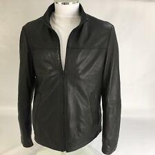 Hugo Boss Mens Leather Jacket Black bomber Large L 42 RRP £315 $500