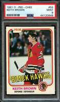 1981-82 O-PEE-CHEE #55 KEITH BROWN PSA 9 BLACKHAWKS  *K3695