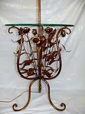 Antique Gold Leaf Florentine Italian Tole Toleware Glass Table Floor Lamp Italy