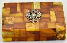 MUSEUM Imperial Russian 200g genuine EGG YOLK BUTTERSCOTCH AMBER cigar case 1890