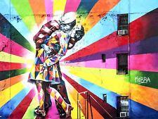 Photography Graffiti Mural Street Wall Colour Kiss Canvas Art Print