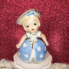 New ListingVtg Lefton? Valentine Girl In Blue Dress With White Hearts & Hat Figurine Japan
