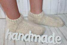 WOMEN's SOCKS SLIPPERS natural goat down organic yarn HAND Knitted 8-10 US