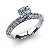 1.70 Carat Round Cut Diamond Engagement Wedding Rings 14K White Gold  Size J M N