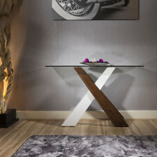 Stunning Glass topped console table with walnut + white crossed Legs