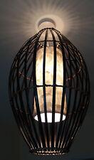 "Unusual Hand Made Black Bamboo & White Shell ""Bird Cage"" Pendant Lamp Shade 55cm"