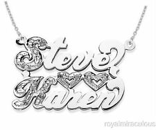 Personalized 2 Name Diamond Open Heart  Nameplate Necklace 20MM Sterling Silver