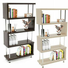 S-Shaped Shelf Bookcase, Wooden Z Shaped 5-Tier Bookshelf Stand for Home Office