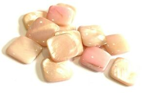 14mm Shell Square - Pink/Pearl approx 20pcs (B13S} UK Seller - Free Postage