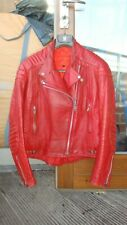vintage MASCOT? biker leather jacket motorcycle silver zips red size XS-S 34-36