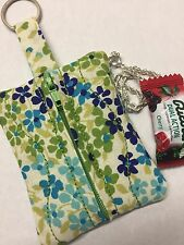 Handmade Floral Blue Fabric Quilted Zipper Key Chain Pouch Coins Change Purse