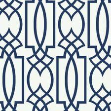 CM2383 Navy Blue on White Large Lattice Wallpaper