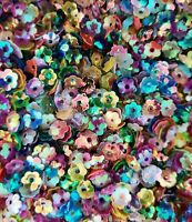 8g 6mm - 7mm Metallic & AB Multicoloured loose sew on Cup Flower shaped Sequins