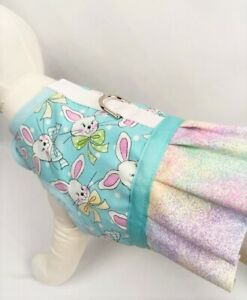 Light Blue Easter Bunny Dog Harness Vest Dress With Ruffle Skirt