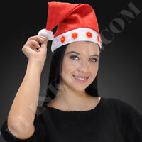 12X LIGHT UP CHRISTMAS SANTA HAT WITH LED BLINKING SNOWFLAKES